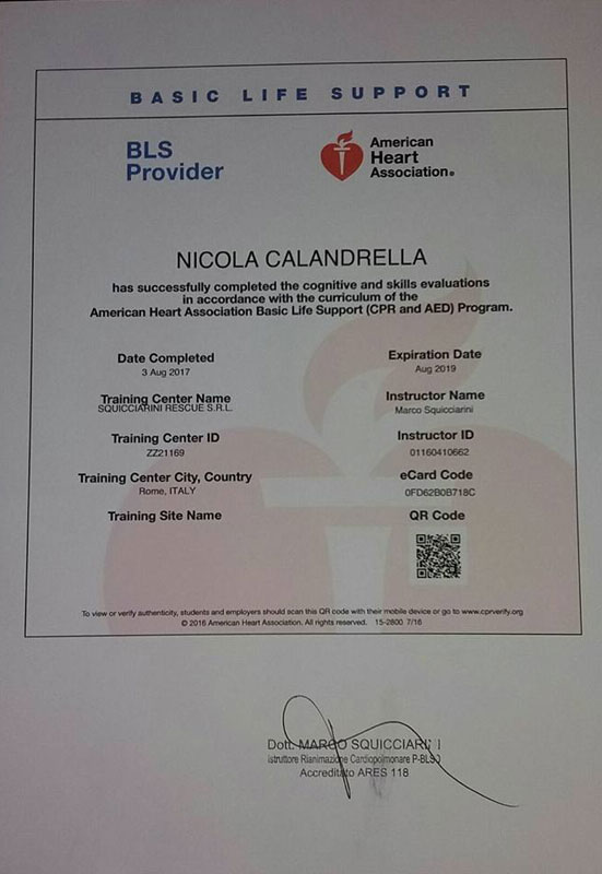 Certificato Basic Life Support